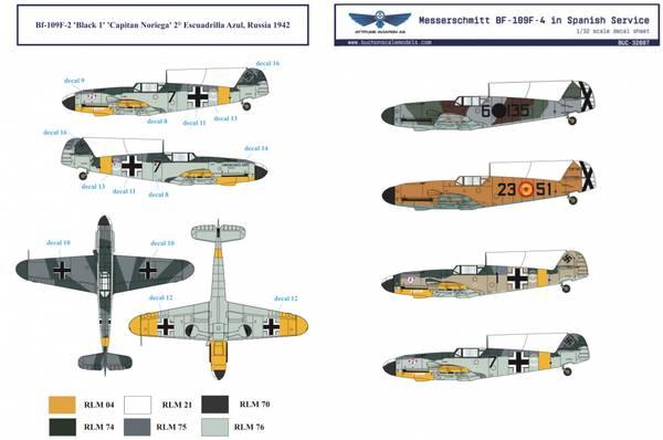 1/32 BF 109F Spanske Luftforsvar - Dekaler